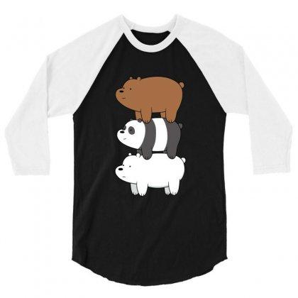We Bare Bears 3/4 Sleeve Shirt Designed By Rakuzan