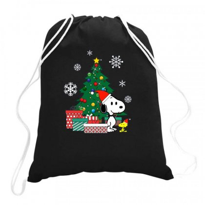 Christmas Snoopy With Woodstock Drawstring Bags Designed By Rakuzan