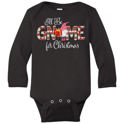 I'll Be Gnome For Christmas Long Sleeve Baby Bodysuit Designed By Badaudesign