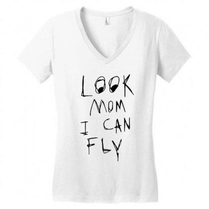 Look Mom I Can Fly Women's V-neck T-shirt Designed By Rakuzan