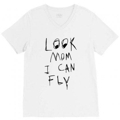 Look Mom I Can Fly V-neck Tee Designed By Rakuzan