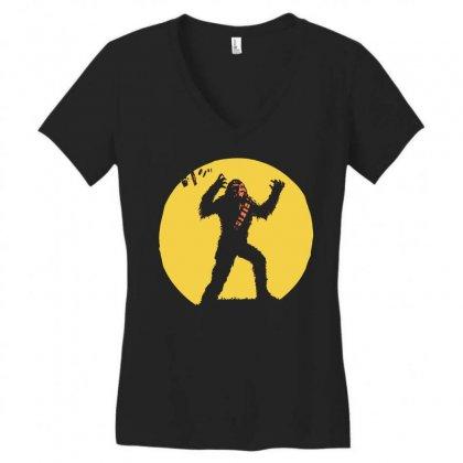 Chewbacca Death Star Glow In The Dark Chewie Tie Fighter Funny 01 Women's V-neck T-shirt Designed By Fanshirt