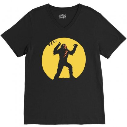 Chewbacca Death Star Glow In The Dark Chewie Tie Fighter Funny 01 V-neck Tee Designed By Fanshirt