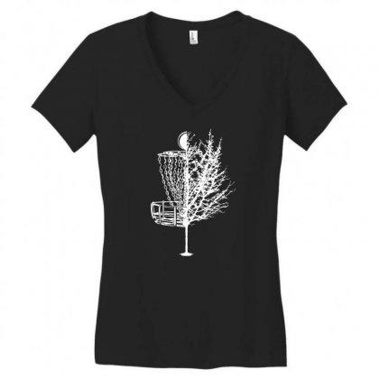 Disc Golf Basket Tree Shirts Funny 01 Women's V-neck T-shirt Designed By Fanshirt