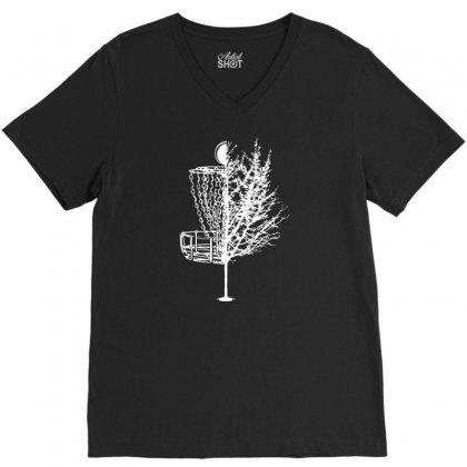 Disc Golf Basket Tree Shirts Funny 01 V-neck Tee Designed By Fanshirt