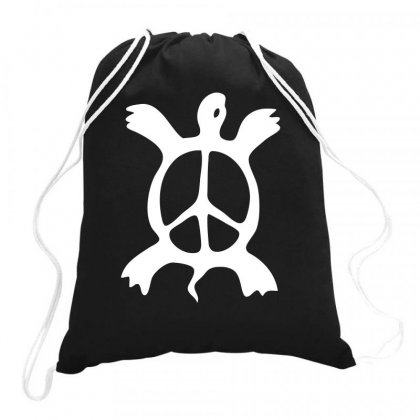Turtle Peace Sign Drawstring Bags Designed By Warief77