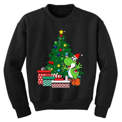 Yoshi Around The Christmas Tree Youth Sweatshirt Designed By Jasmine Tees