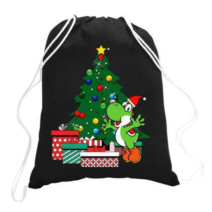 Yoshi Around The Christmas Tree Drawstring Bags Designed By Jasmine Tees