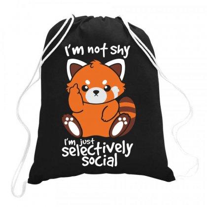 Shy Red Panda Drawstring Bags Designed By C4hya