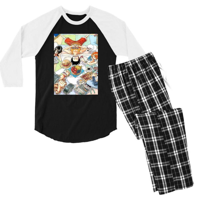 One Piece Cover Men's 3/4 Sleeve Pajama Set   Artistshot