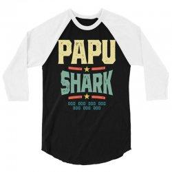 Mens Retro Vintage Papu Shark Tee Funny Birthday Gifts Family 3/4 Sleeve Shirt | Artistshot