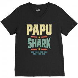 Mens Retro Vintage Papu Shark Tee Funny Birthday Gifts Family V-Neck Tee | Artistshot