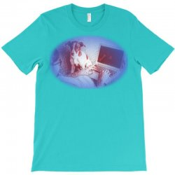 Handsome man in eyeglasses isng on couch at h T-Shirt | Artistshot