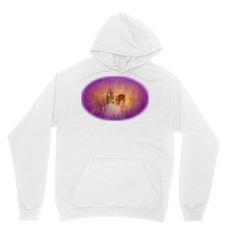 Dog Papillon On In A Field Of Unisex Hoodie | Artistshot