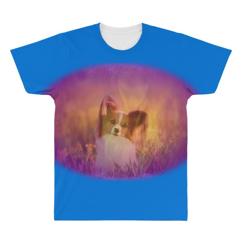 Dog Papillon On In A Field Of All Over Men's T-shirt   Artistshot