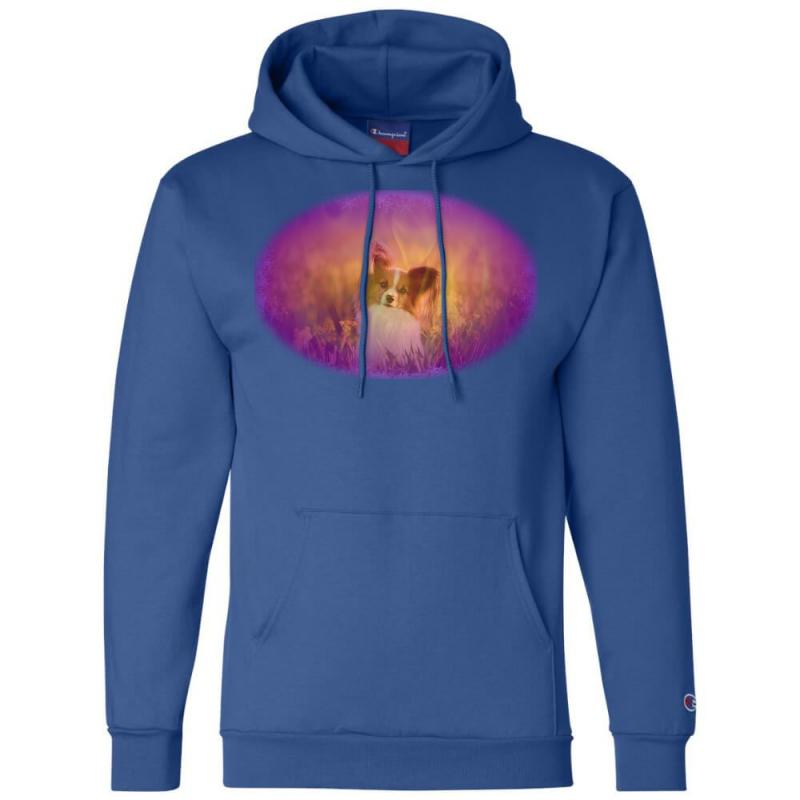 Dog Papillon On In A Field Of Champion Hoodie   Artistshot