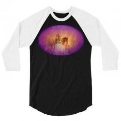 Dog papillon on in a field of 3/4 Sleeve Shirt | Artistshot