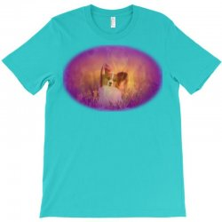 Dog papillon on in a field of T-Shirt | Artistshot