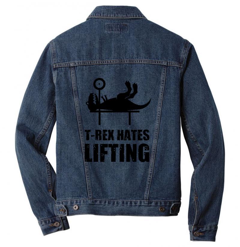 T Rex Hates Lifting Men Denim Jacket | Artistshot
