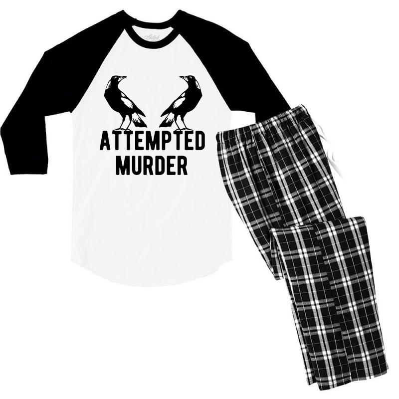 Two Crows Attempted Murder Men's 3/4 Sleeve Pajama Set | Artistshot