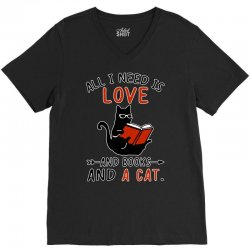 all i need i love and books and a cat reading cat V-Neck Tee | Artistshot