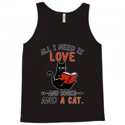 all i need i love and books and a cat reading cat Tank Top | Artistshot