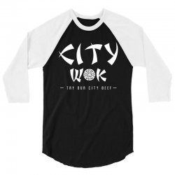 city wok on white 3/4 Sleeve Shirt | Artistshot