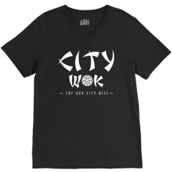 city wok on white V-Neck Tee | Artistshot