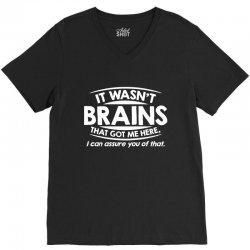 brains here V-Neck Tee   Artistshot