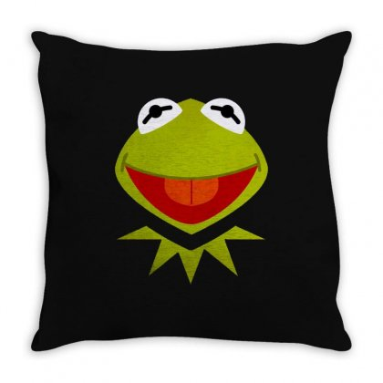 Funny Kermit Illustration Throw Pillow Designed By Rosdiana Tees