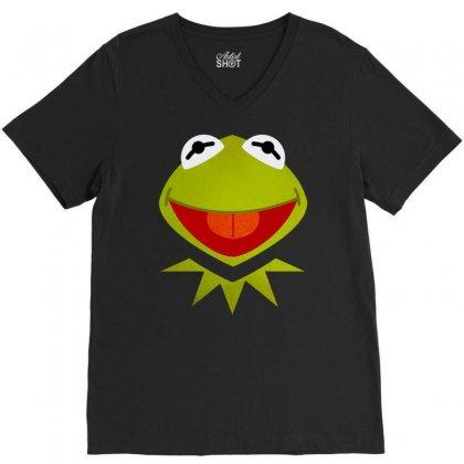 Funny Kermit Illustration V-neck Tee Designed By Rosdiana Tees