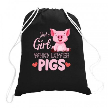 Just A Girl Who Loves Pigs Drawstring Bags Designed By Sengul