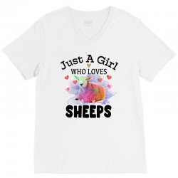 just a girl who loves sheeps for light V-Neck Tee | Artistshot