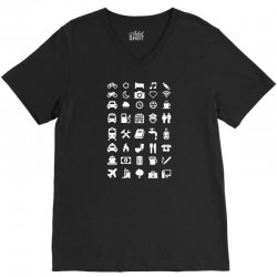 shirt with emoticons for travelers V-Neck Tee | Artistshot