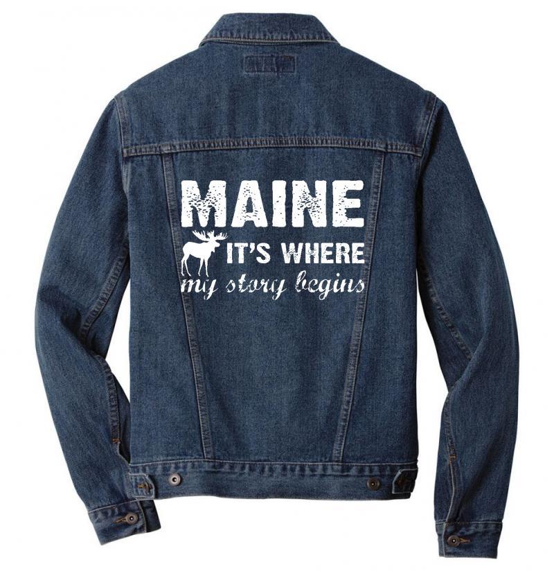 Maine Where My Story Begins Men Denim Jacket   Artistshot