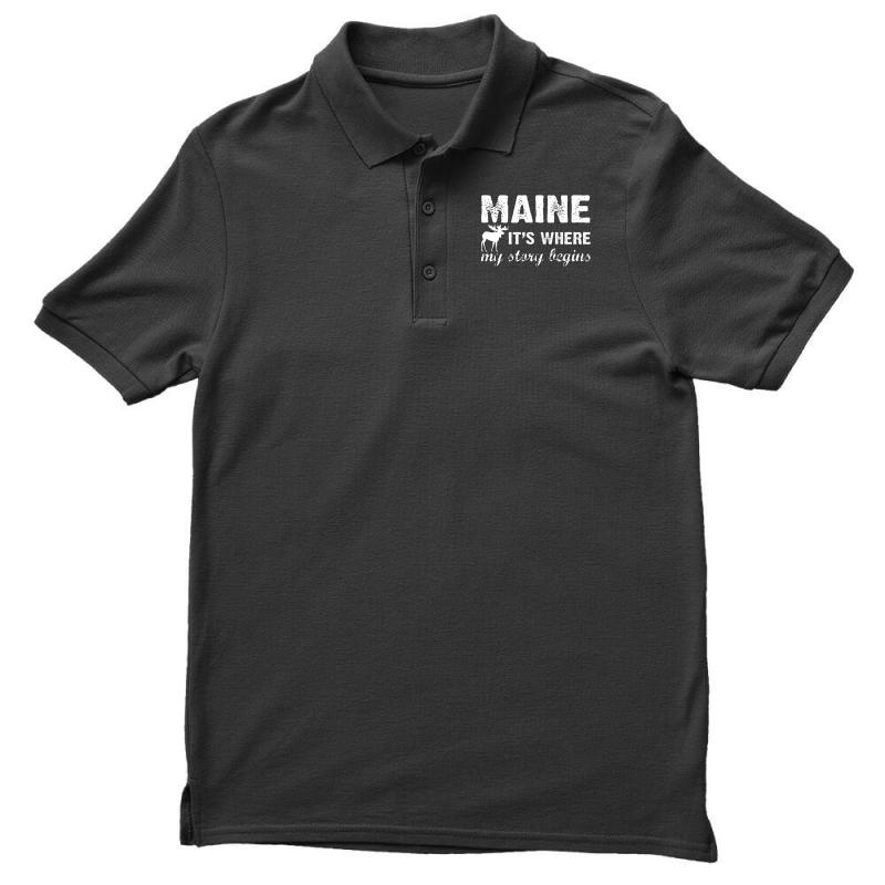 Maine Where My Story Begins Men's Polo Shirt | Artistshot