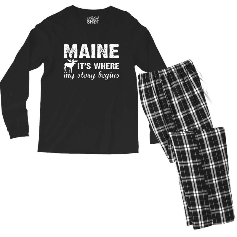 Maine Where My Story Begins Men's Long Sleeve Pajama Set   Artistshot