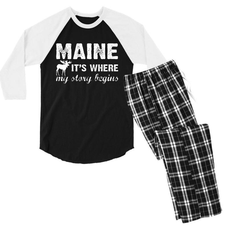 Maine Where My Story Begins Men's 3/4 Sleeve Pajama Set | Artistshot