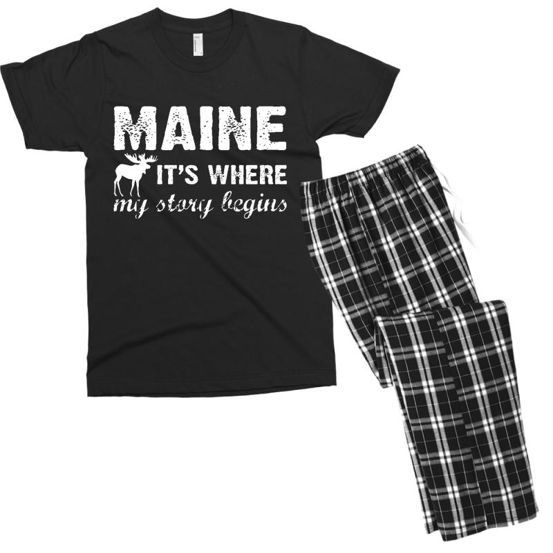 Maine Where My Story Begins Men's T-shirt Pajama Set | Artistshot