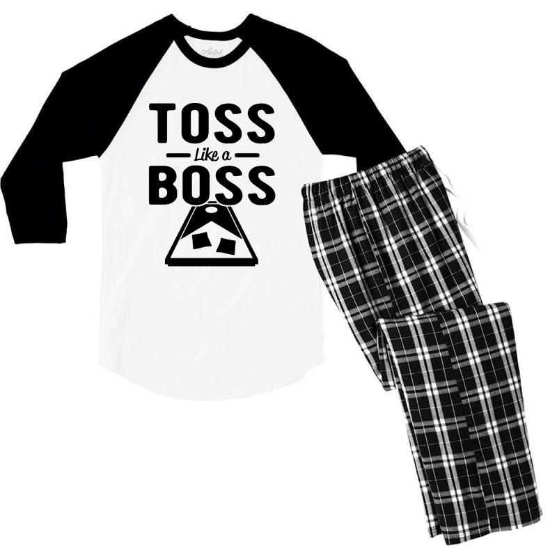 Toss Like A Boss Cornhole Men's 3/4 Sleeve Pajama Set | Artistshot