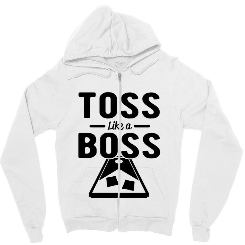Toss Like A Boss Cornhole Zipper Hoodie | Artistshot