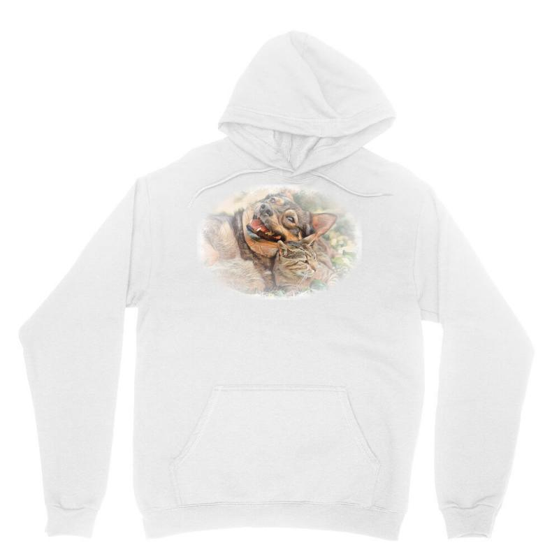 Dog And Cat Playing Together Unisex Hoodie   Artistshot
