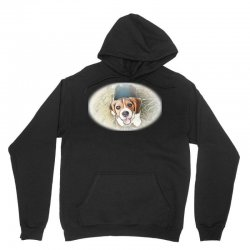 Beagle puppy sitting on green Unisex Hoodie | Artistshot
