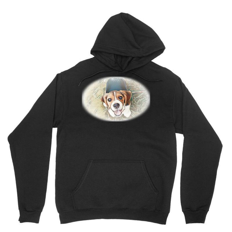 Beagle Puppy Sitting On Green Unisex Hoodie | Artistshot