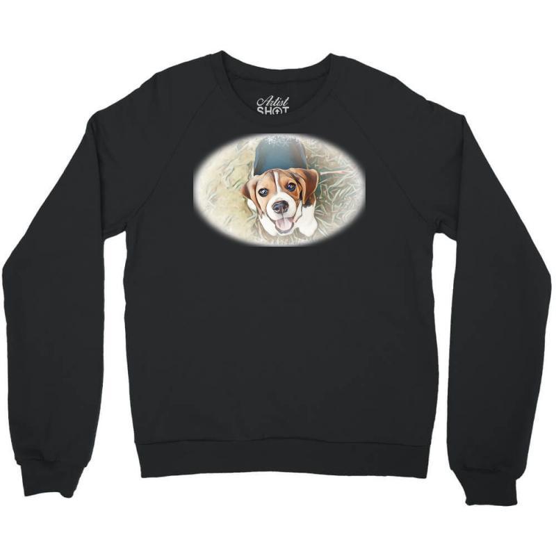 Beagle Puppy Sitting On Green Crewneck Sweatshirt | Artistshot