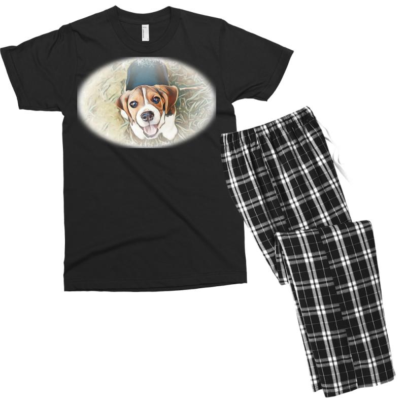 Beagle Puppy Sitting On Green Men's T-shirt Pajama Set | Artistshot