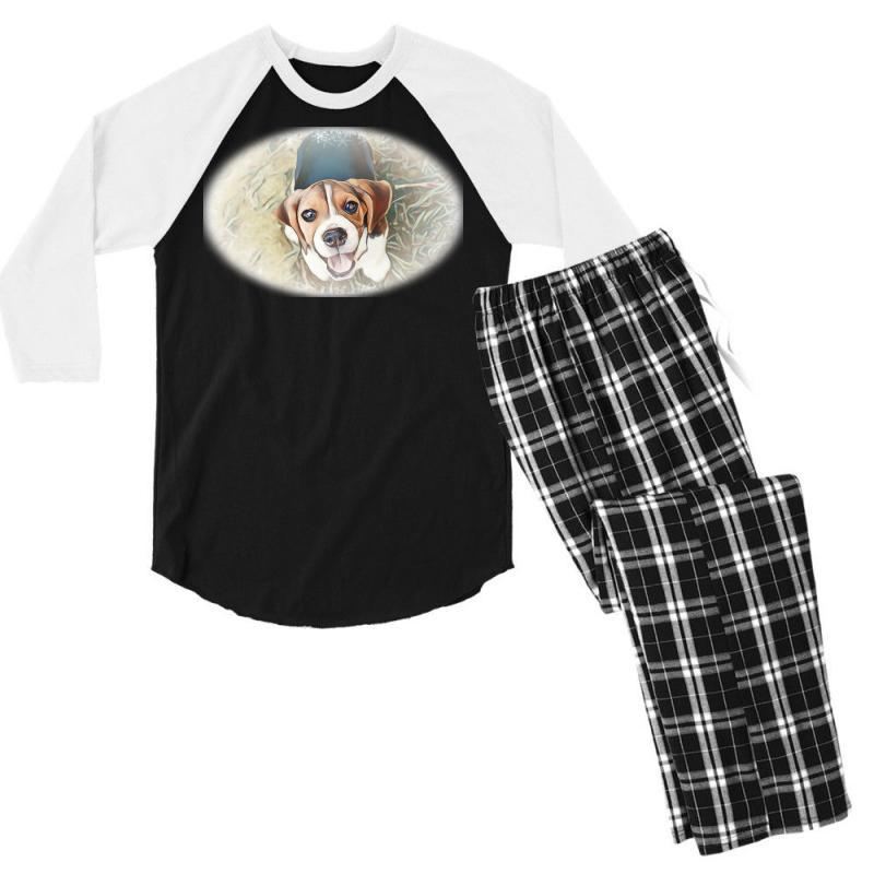 Beagle Puppy Sitting On Green Men's 3/4 Sleeve Pajama Set | Artistshot