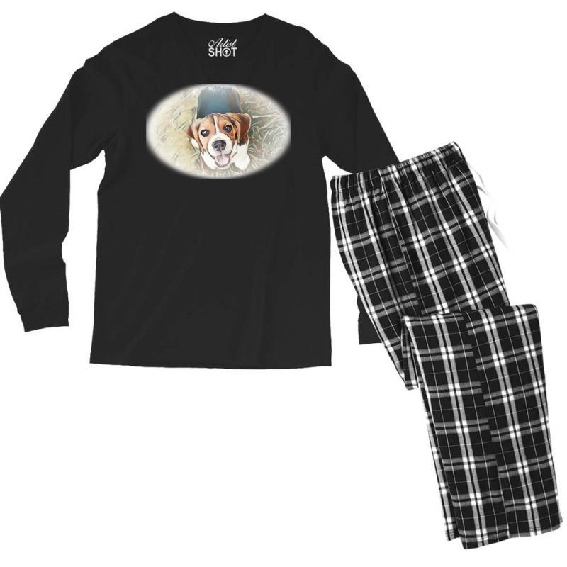 Beagle Puppy Sitting On Green Men's Long Sleeve Pajama Set | Artistshot