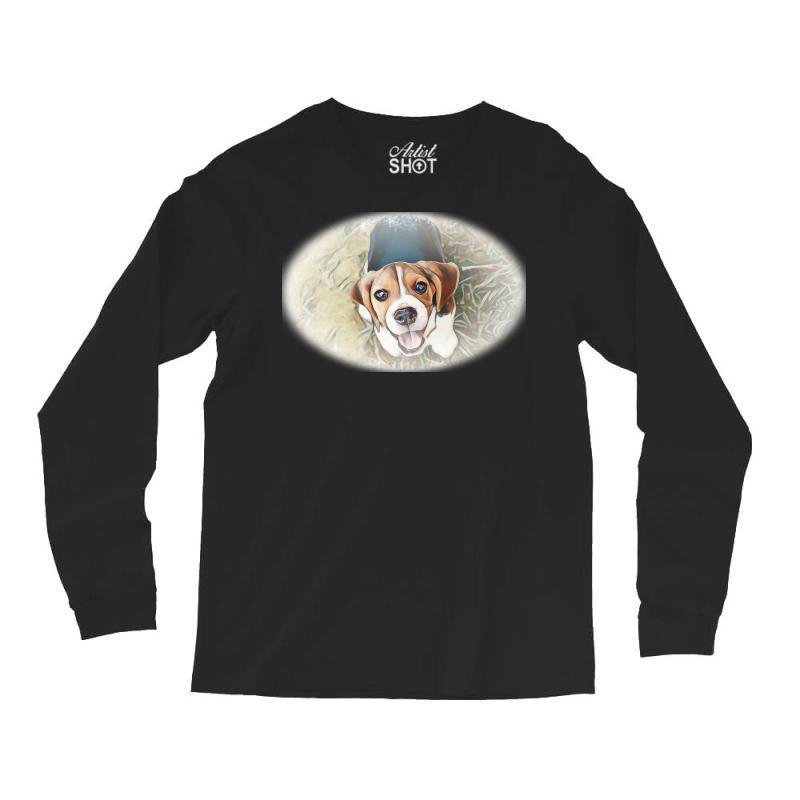 Beagle Puppy Sitting On Green Long Sleeve Shirts | Artistshot