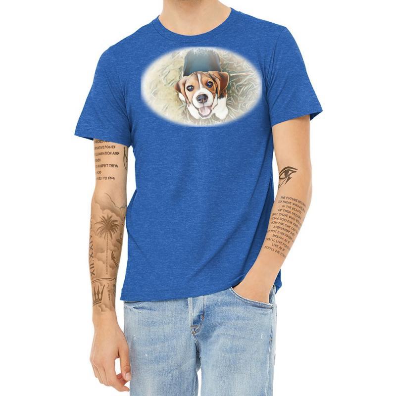 Beagle Puppy Sitting On Green Heather T-shirt | Artistshot